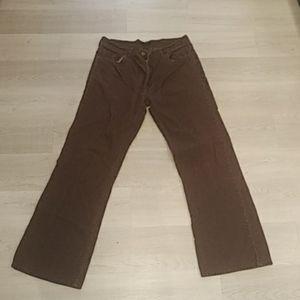 PG Casual Mens Brown Corduroy Flat Front Straight Leg Dress Pants Size 36 x 32